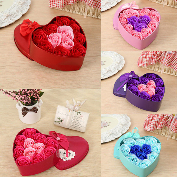 Hot New 11pcs 5 couleurs Savon Rose d'amour de fleur de fer Coffret cadeau bain Savons corps de mariage Cadeau Saint Valentin