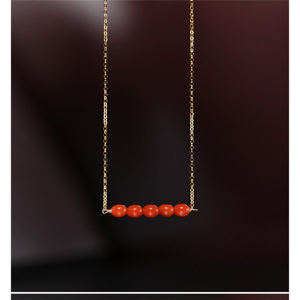 best selling DAIMI South Red Agate Pendant Female Day Genuine Ran Yellow 18K Gold Word Necklace Valentine's Day Gift