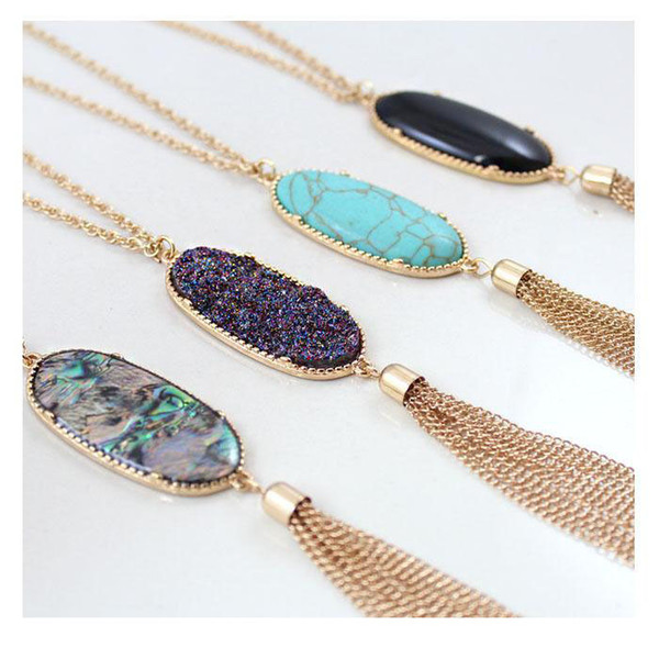 fashion styles Bohemian Long Tassel Statement Necklaces for Women Natural Stone Druzy Pendant Bulk Price free shipping