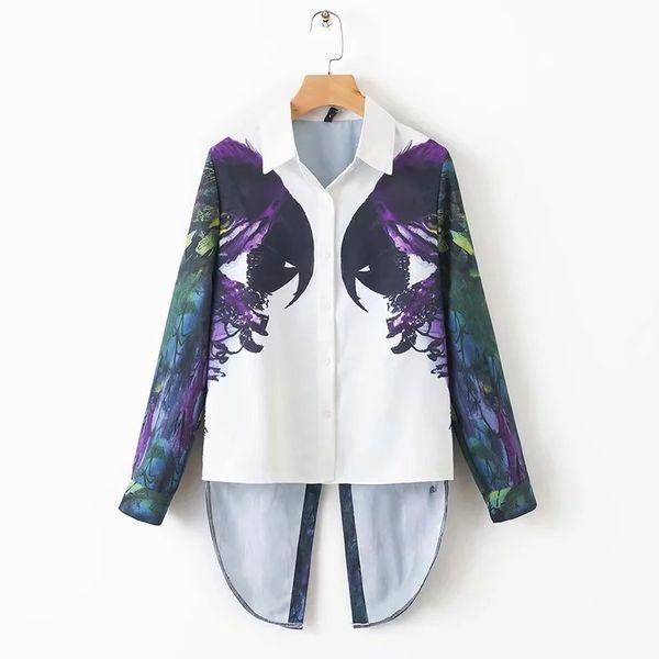 Colocación de loros mujeres de impresión Camisa con cuello vuelto Camisa casual de manga larga blusa moda tops flojos feminina chemise S5119