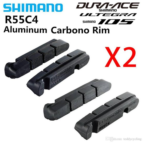 2PCS SHIMANO R55C4 v brake Road Bike Shoes Pads For Carbon/Aluminium Alloy Rims Dura-Ace/Ultegra/105 R8000 6800