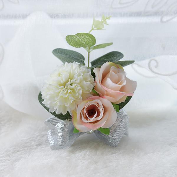 Boutonnières de mariage pour demoiselles d'honneur avec roses en 7 couleurs bleu rouge champagne crème rose fuchsia artificielle poignet de mariage Corsages CBW-D520