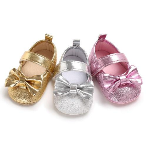Toddler Infant Baby Girls Fancy Princess Bow Sequnied Dress Shoes Kids Soft Sole Crib Shoes Girl 0-18M