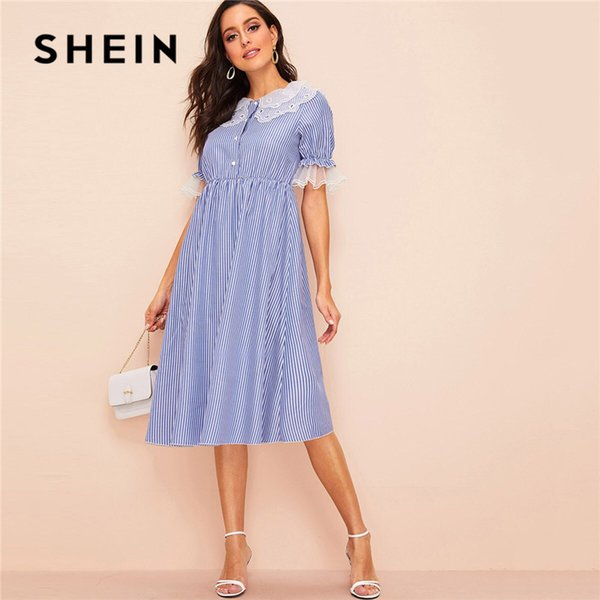 SHEIN Organza Detail Buttoned Front Striped Hijab Dress Women Casual Flounce Sleeve Summer Dress 2019 Lady Midi