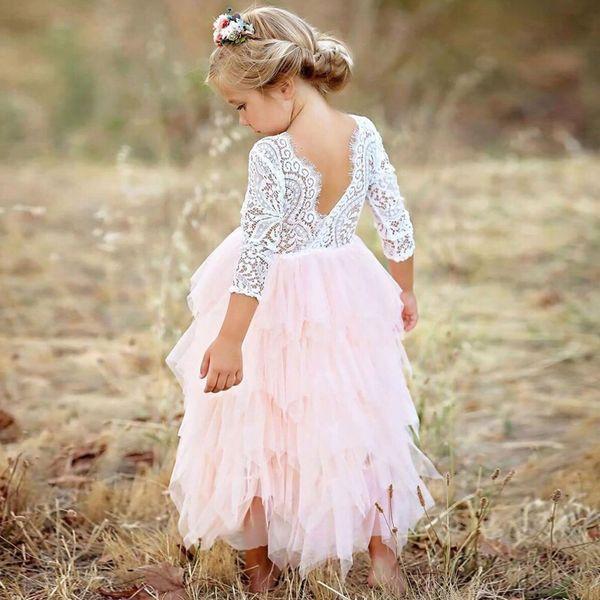 Vestidos Girls Summer Dress Brand Backless Teenage Party Princess Dress Children Costume for Kids Clothes Pink 2-6T Stage Sister Skirt
