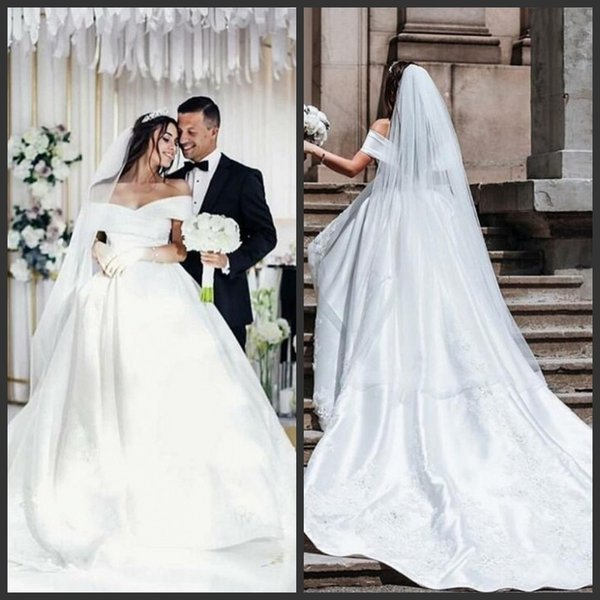 Discount 2019 Simple Lace Wedding Dresses Off Shoulder Short Sleeves Lace Appliques Women Bridal Gowns Sweep Train Custom Made Elegant Wedding Gowns