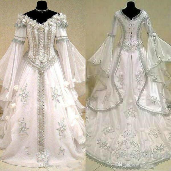 Medieval Wedding Dresses Witch Celtic Tudor Renaissance Costume Victorian Gothic Halloween Lace-up Corset Wedding Gown Plus Size