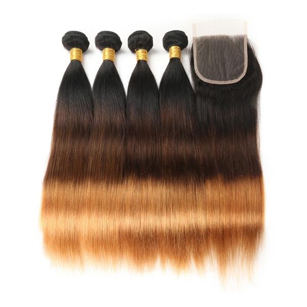 Cor ombre T1B / 4/30 100% virgem extensões de cabelo humano longo e reto 4 feixes / 400gr com 4 * 4 lace closure cabelo humano tece 450gr