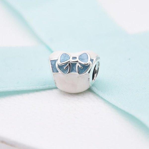2019 Dia dos Namorados 925 Sterling Silver Blue Bow Coração Do Laço Transparente Misty Rose Suave Rosa Talão Serve Pulseiras Pandora