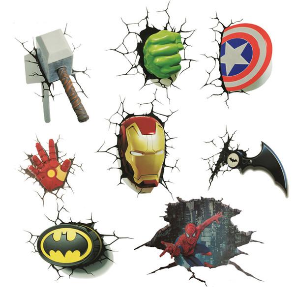Adesivo 3D The Avengers Hero Adesivi per film di cartoni animati Bardian Cartoon Graffiti Adesivo per auto popolare Impermeabile Anti-usura Giocattoli ecologici per bambini