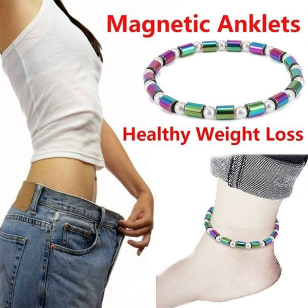 Electroplated Ab Colour Black Magnet Cylindrical Pearl Foot Chain Health Care Hematite Stretch Beaded Anklet for Men Women