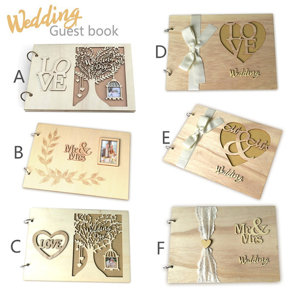 wedding decorations Wood Guest Book Memorable Simple Message Books Sign Book Gift for Wedding Party Bridal Shower