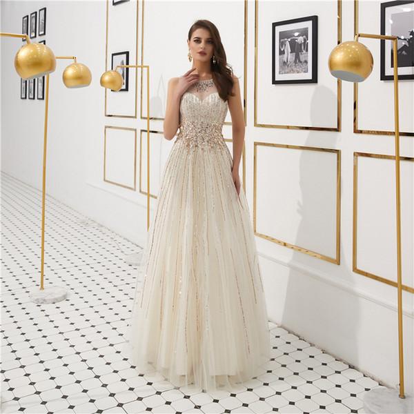 Bella Prom Dresses colletto tondo sottile prospettiva in rilievo paillettes strass pavimento lunghezza abiti da sera abiti da regalo per adulti