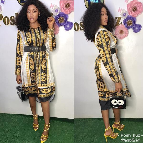Abiti firmati donne dell'annata delle donne di nuovo stile classico africano Dress dashiki shirt Moda Stampato risvolto del collo a manica lunga veste