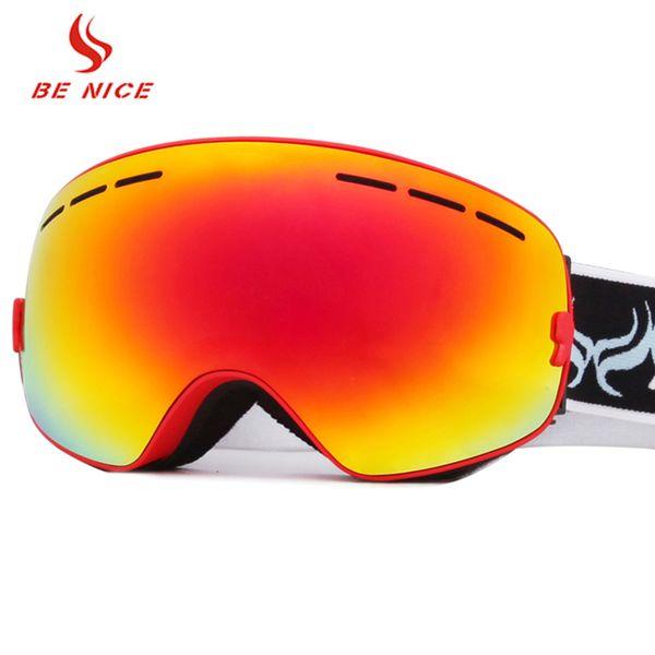 BENICE Occhiali da sci Sci per adulti Occhiali da pattinaggio UV400 Antiappannamento Maschera da sci grande Occhiali Sci Uomo Donna Snowboard Snowboard