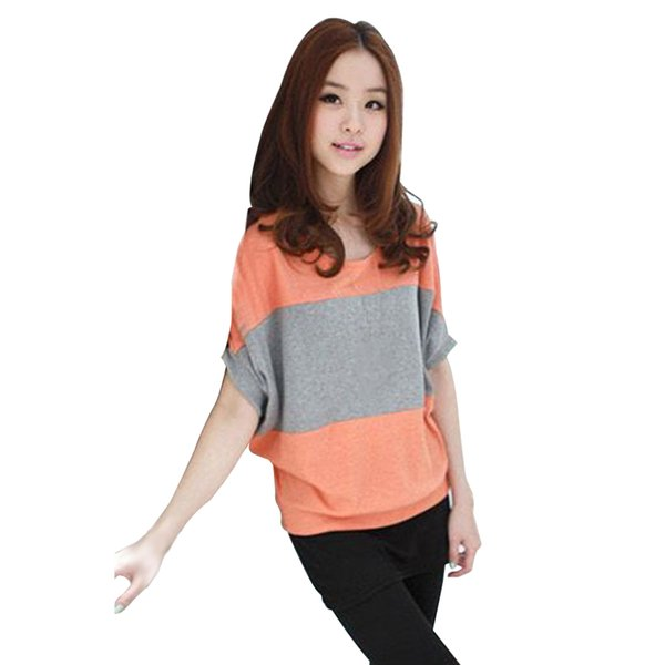 Women T-shirt Party Round Neck Loose Polyester Large Stripe Spell Color Bat Sleeve Tops Casual Fashion Cute Summer