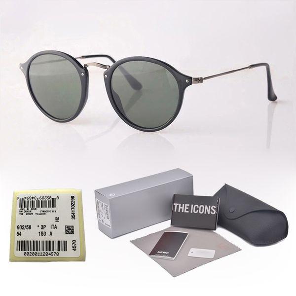 Wholesale - Brand Designer Classic Round Sunglasses Men women Vintage Retro sun glasses Driving Eyewear glass lenses with free cases and box