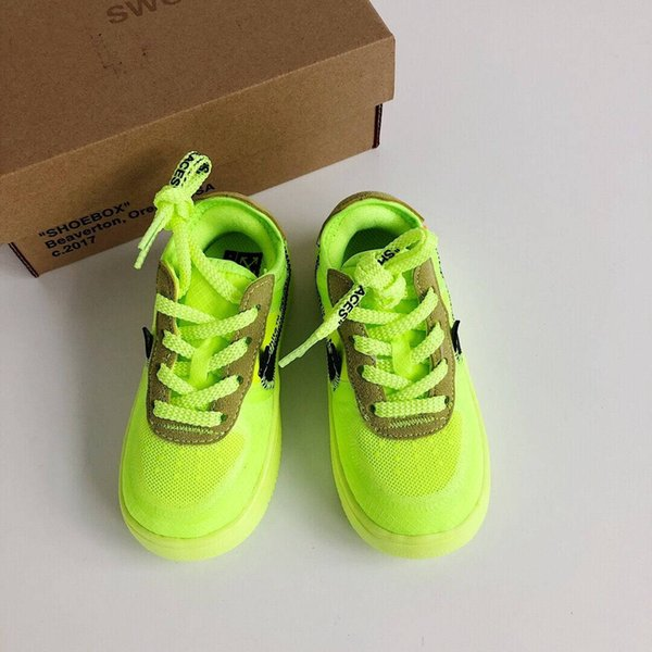 2019 new Chicago off Power Kids Knit Breathable Running Shoes Originals og All AirCushion Built in white Kids Shoes