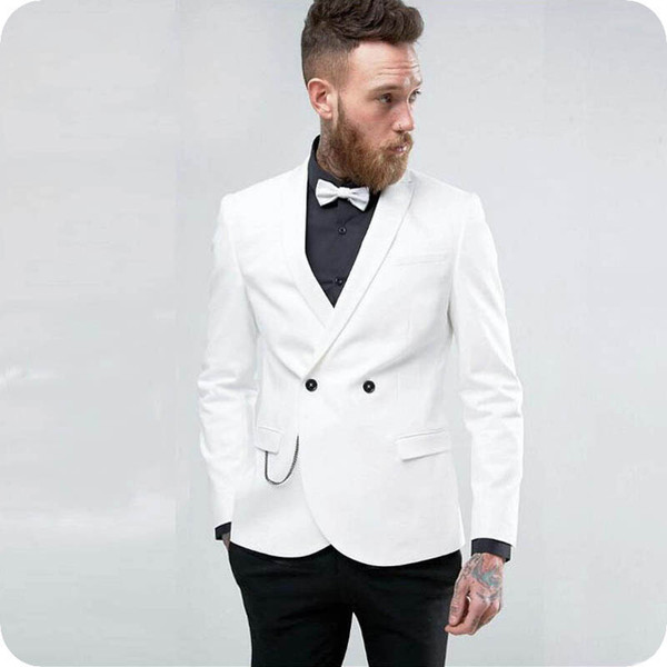 White Man Blazer Groom Tuxedo Men Suits for Wedding Man Jacket Double Breasted 2Piece(Coat+Pants)Slim Fit Terno Masculino Trajes de hombre