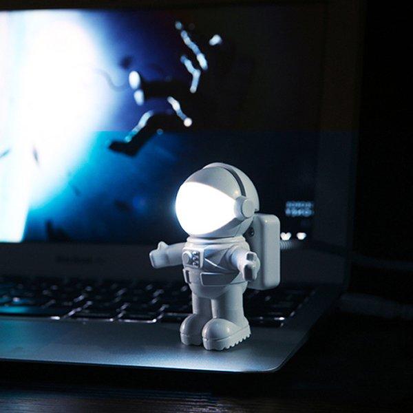 Mini lampada da lettura USB Tube For Computer Laptop PC Notebook Pure White Astronauta portatile Astronauta LED Night Light regolabile