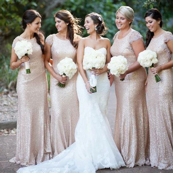 Elegant Gold Sequined Bridesmaid Dresses Sheath Capped Short Sleeves Floor Length Maid of Honor Dresses Wedding Party Gowns DB044