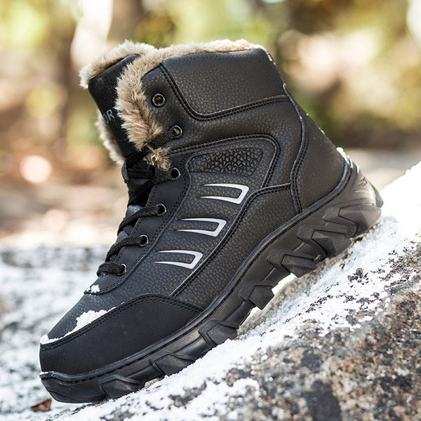 Men Skiing Shoes Outdoor Genuine Leather Snow Boots Faux Fur Lining Snow Boots Large Size Thermal Hot Winter Hiking Walking Shoe Size 39-48