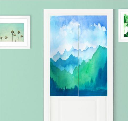Wholesale 85*120cm Distant Mountain Ink Painting Door Curtain Cotton Linen Pantry Curtain New Year Festival Wedding Children Kids Room Decor