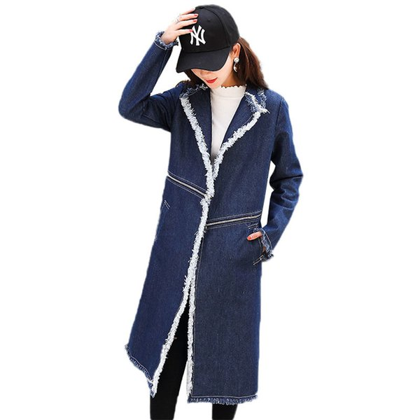 2019 Spring Trench Coat New Women Stitching Mid Long Denim Windbreaker Two Ways Of Wearing Casual Long-Sleeved Outerwear JIA80