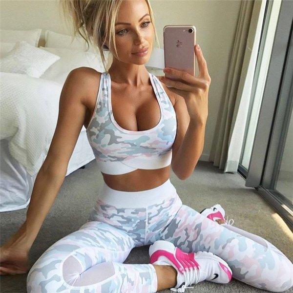 2018 Камуфляж CAMO Mesh Пэчворк Femme Sexy Fitness Stretch Женщины GYM Спорт Урожай Топ Жилет Yoga Набор Костюмы Леггинсы # 591465