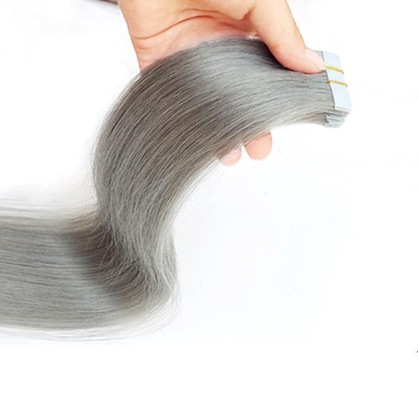 Großhandel 14 - 30 Zoll Hauteinschlag Remy Reines Haar Unsichtbares Grau Doppelband In Menschenhaarverlängerungen 50g / 20pcs