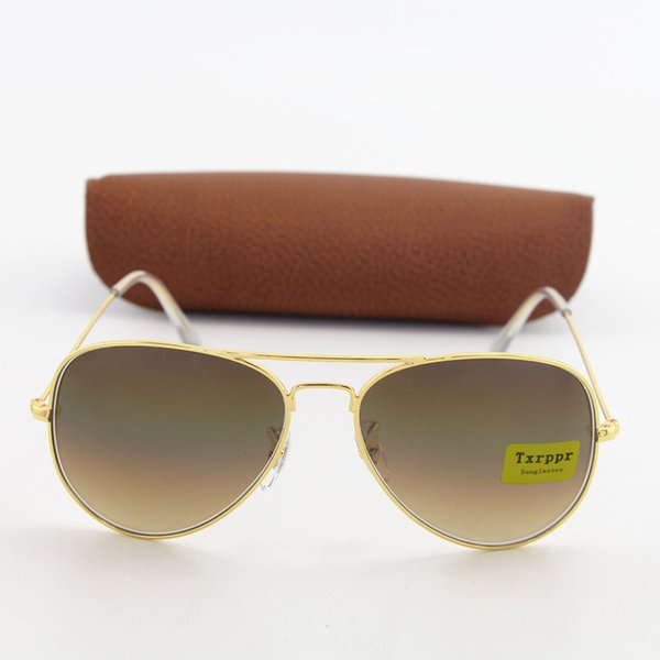 1pcs Classic Style Brand Txrppr Hot Sale Mens Womens Pilot Gradient UV400 Sunglasses Designer Sun Glasses Gold/Brown 58mm Glass Lenses