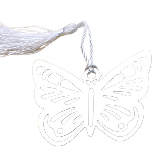 Marcadores de mariposa huecos de metal con mini tarjetas de felicitación borlas Kawaii papelería colgante regalos boda Favors-12pcs