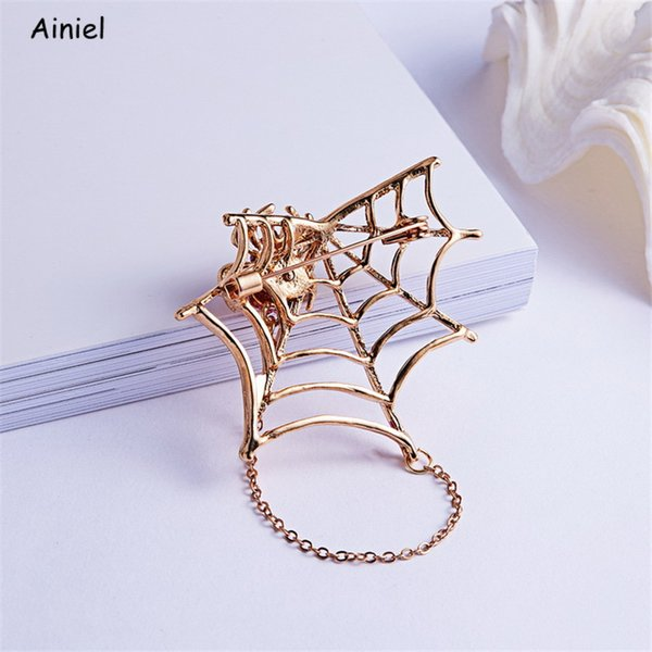 Animal Rhinestone Black Pink Magnet Spider Cobweb Brooch Women Men Suits Brooches Pin Halloween Party Decorate Accessories Gifts