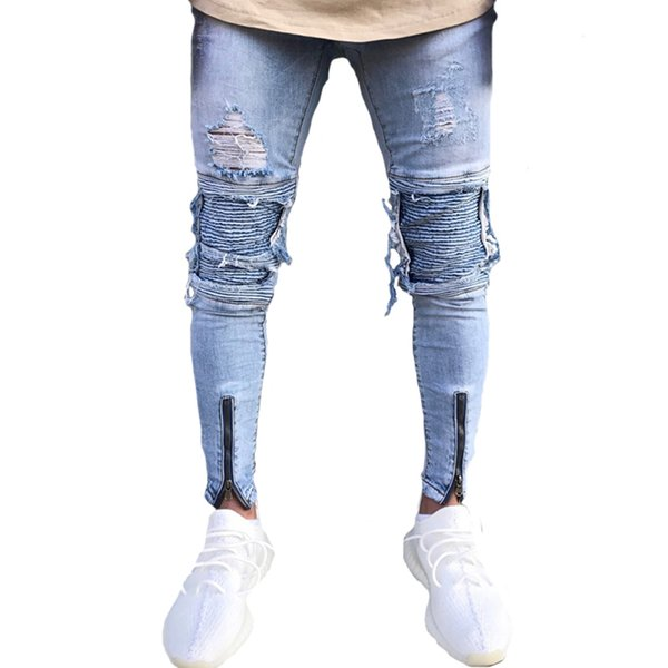 Lightweight Men Biker Jeans Patches Destroyed Pants Ripped Skinny Trousers Pencil with Beggar Style