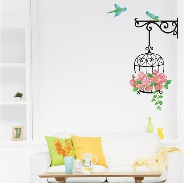 Birdcage flor etiqueta de la pared para el hogar paredes decoración vinilo tatuajes de pared para sala de estar cuartos de guardería mural extraíble