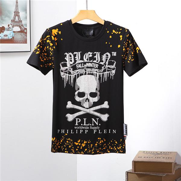 2019 Fashion Men's Wear Brand P-P Hot Diamond Skull T-shirt Men's T-shirt Men's Shirt Short Sleeve T-Shirt