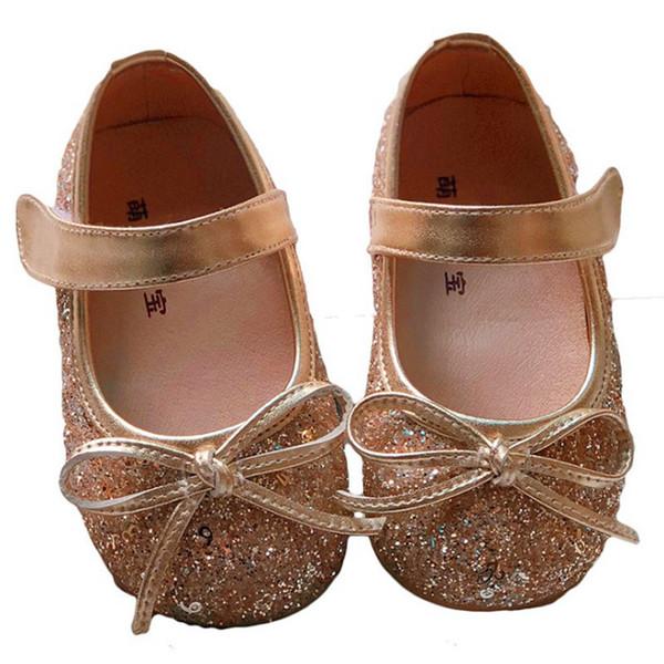 Gerçek Deri Astar Bebek Prenses Elbise Ayakkabı 1-5 Yıl Kız Sandalet Performans Deri Ayakkabı Sequins Çocuk Tekli