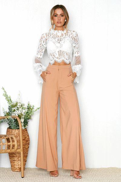 nuova molla della camicia chiffon delle donne fashion style pizzo sottile cucitura manica tromba rotonda top di pizzo camicia cava