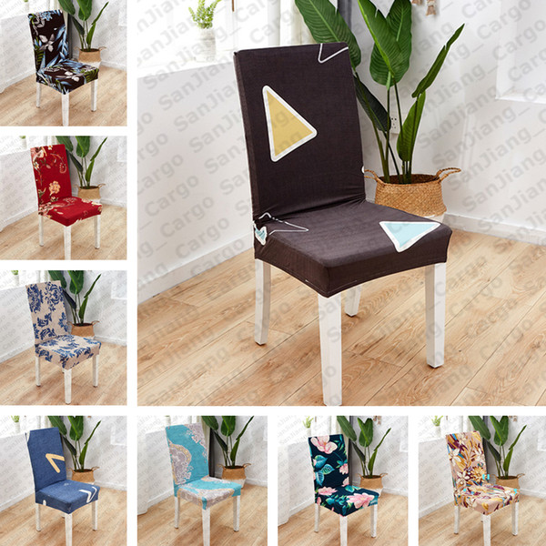 top popular Floral Spandex Stretch Elastic Chair Covers For Wedding Dining Room Office Banquet house Decoration Seat Covers E31402 2021