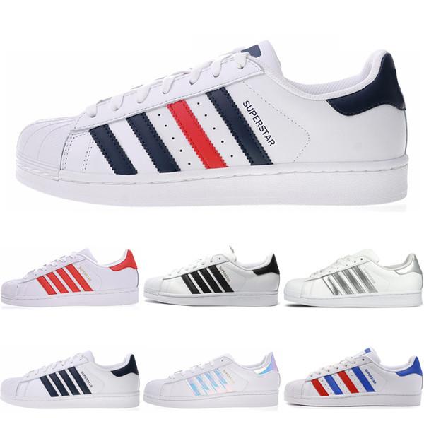 Adidas superstar Super Star White Freizeitschuhe Hologramm schillernden Junior Superstarts 80er Jahre Stolz Frauen Herren Trainer Superstar Schuhgröße 36-44