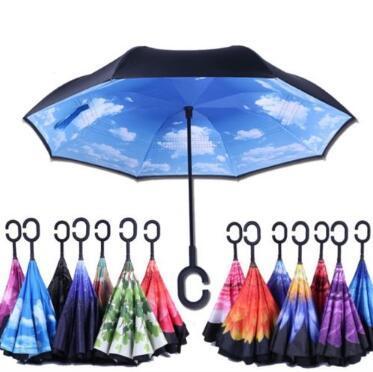 37 estilos C-gancho a prueba de viento paraguas inverso vástago largo invertido doble capa creativo auto soporte lluvia protección paraguas CCA10997 50pcs