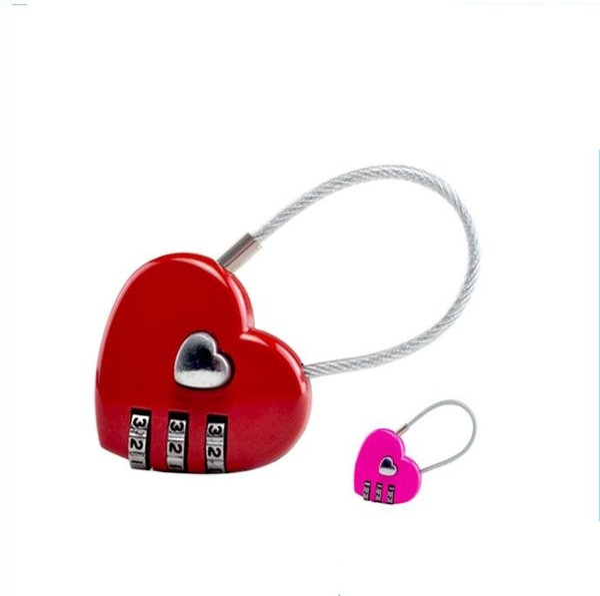 휴대용 미니 노트북에 대한 와이어 로프 조합 잠금 schoolbag 배낭 귀여운 열 모양 사랑 비밀 번호 잠금 야외 여행 가방 자물쇠