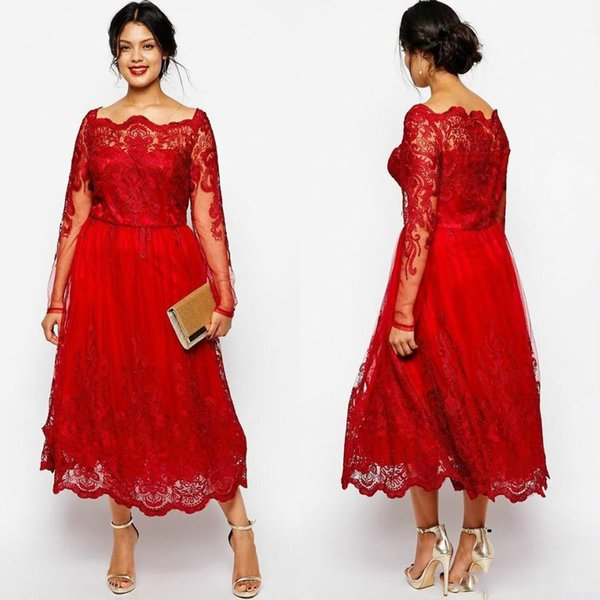 Red Plus Size Dresses Cheap Long Sleeves Lace Applique Tea Length Evening  Gowns Special Occasion Prom Dress Trendy Plus Size Womens Clothing Uk Plus  ...