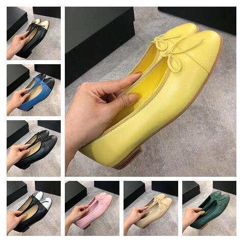2019 Moda Estilo das Mulheres Low-Top Sapatos de balé Pescador 039 reais de couro de Pérola Tweed Sapatilhas Ocasionais Couro de Pele de Ovelha Sapato Plana 002