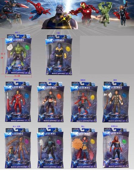 10 pcs Os Vingadores Infinito Guerra 4 Capitão Marvel Figura de Ação Homem De Ferro LEVOU Brinquedos de Luz para As Crianças Presentes Capitão Marvel Figura