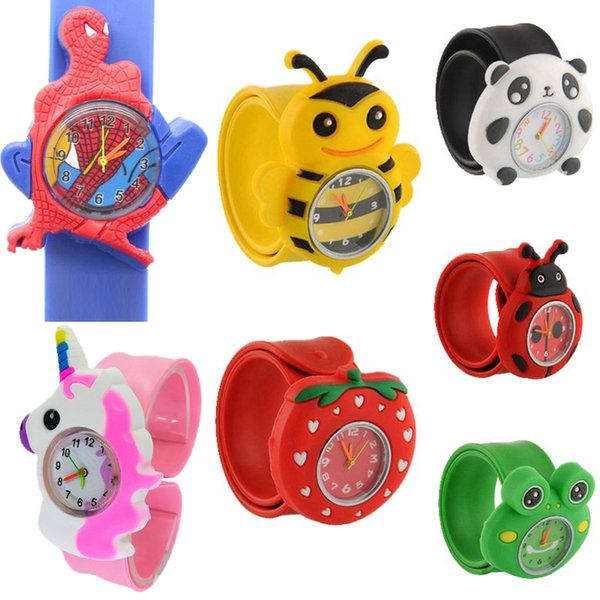 best selling Children's Day Christmas gift kids children boys girls lovely cute cartoon animal snap slap watches fashion students birthday party watches