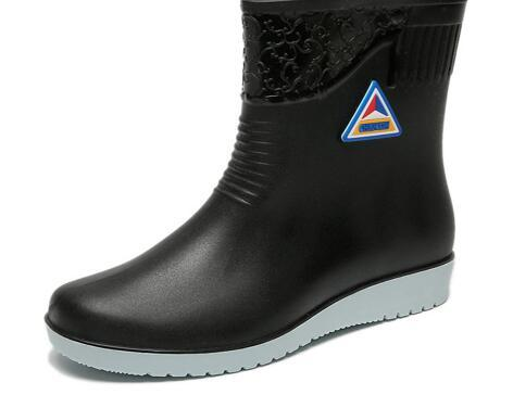 Women Mid-Calf Rainboots Non-Slip Work Warm Spring Winter Shoes Female Waterproof Water Shoes Woman Wellies Rain Boots