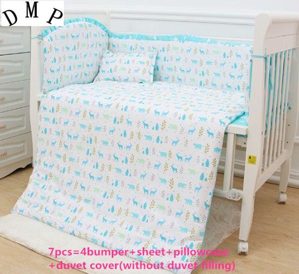 Promotion! 6/7PCS Baby Bedding Sets Cot Bedding Set Crib Bumper , 120*60/120*70cm