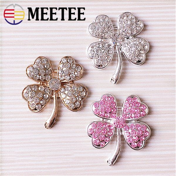 Meetee Rhinestones Four Leaf Clover Flower Button Decoration Buckle Handmade Hair Clip Accessories DIY Materials ZK571