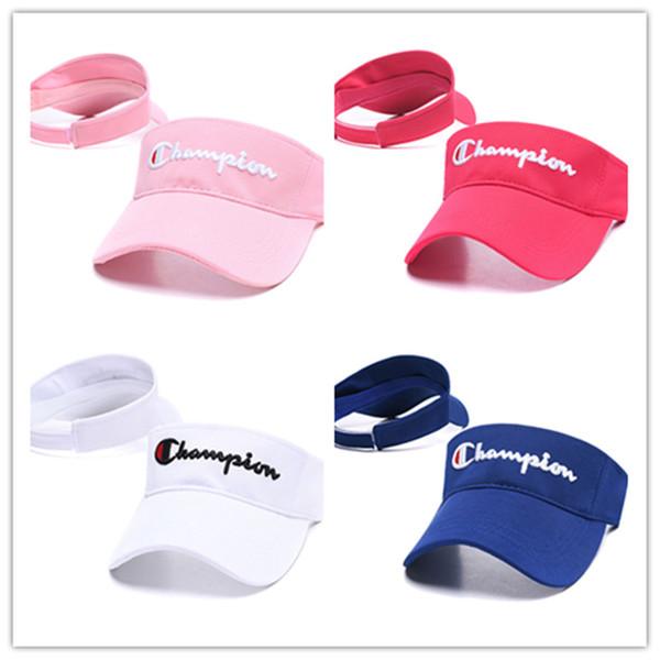 챔피언스 디자이너 모자 대문자 자수 남자 여자 야구 모자 조정 가능한 자외선 차단 B62803 바이저 모자 비치 골프 테니스 모자
